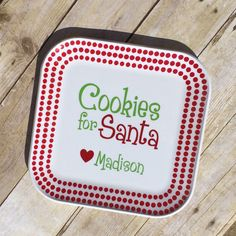 Cookies for Santa Plate Personalized with Vinyl by ALaMadeGifts
