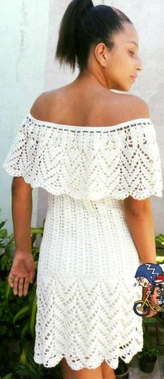 Crochet dress 2019 off the shoulder dress Crochet Blouse, Crochet Bikini, Knit Crochet, Crochet Short Dresses, Crochet Clothes, Dress Patterns, Crochet Patterns, Hippie Crochet, Crochet Fashion
