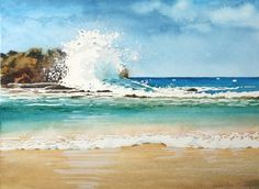 seascape watercolor blue red - Google Search