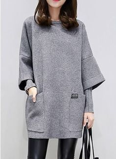 Cotton Solid 1027181/1027181 Sleeves Above Knee Casual Dresses (1027181) @ floryday.com