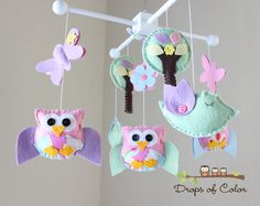 """Baby Crib Mobile - Baby Girl Mobile - Owl and Birds Mobile - Nursery Owl Mobile """"A day in the Forest"""" (You Can Pick Your Colors). $80.00, via Etsy."""
