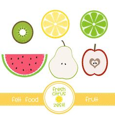Felt Food Fruit Clip Art kiwi watermelon lemon by FreshCitrusZest