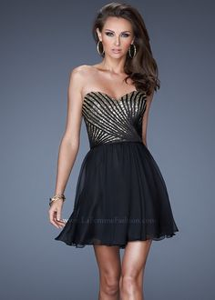 La Femme 19402 Glamorous Black & Gold Short Dress