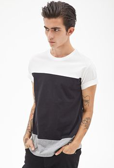 Colorblocked Cotton Tee #21Men