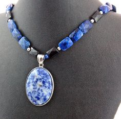 Sodalite and Sterling Silver Pendant with by RivendellRockJewelry
