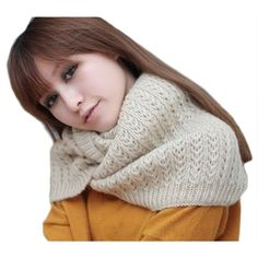 Fashion Winter New Women Warm Knit Neck Circle Wool Cowl Snood Long Pullover Scarf Shawl Wrap For Women