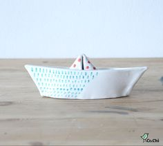 Paperboat made in ceramic  light blue and red by CoChiShop on Etsy