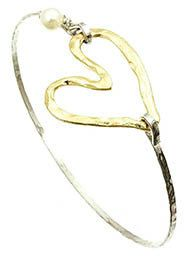 Hammered cutout metal heart  bracelet   by NAMBASTE on Etsy