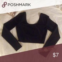 Long-sleeve Black Crop Top -Medium Forever 21 crop top. Sort of shiny and stretchy material. Goes great with a high-waisted skirt or jeans! Forever 21 Tops Crop Tops