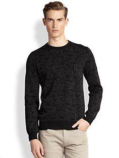 Saks Fifth Avenue Collection - Paisley Jacquard Crewneck Sweater
