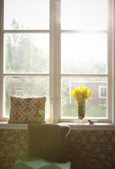 window - floral wallpaper