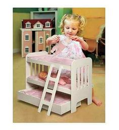 Bunk Beds Trundle Doll Bed White Wood Ladder Pink American Girl Toy Furniture