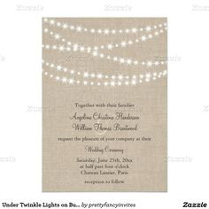 Under Twinkle Lights on Burlap Wedding Invitation - string lights, party lights, rustic, country