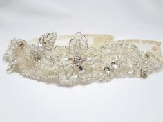 Wedding bridal garter prom garter glittering pale by mirino, $23.00
