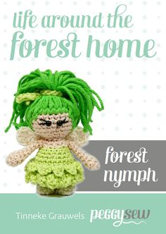Mini Bosnimf amigurumi haakpatroon Amigurumi Patterns, Knitting Patterns, Crochet Patterns, Crochet Fairy, Make Your Own, How To Make, Finger Puppets, Nymph, Fantasy Creatures