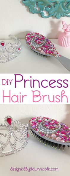 DIY Princess Hair Brush. Mini-versions would be a great Princess Party Favor! bydawnnicole.com