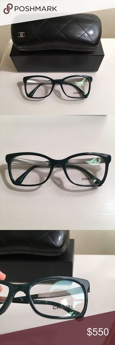 NEW Chanel dark green tweed glasses New and never worn. 100% authentic. Has tweed detailing on the arms. Comes with case, box, and cleaner. CHANEL Accessories Glasses