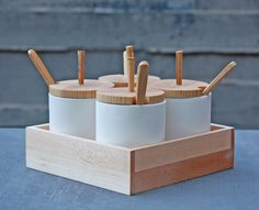 Condiment Set with Tray Condiment Sets, Wood Tray, Unique Home Decor, Bamboo, Porcelain, Bronze, Vase, Sculpture, Spoons