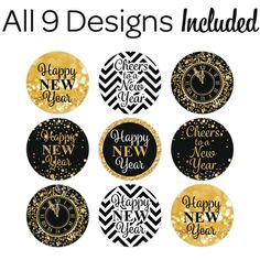 Black and Gold New Year's Eve Kiss Party Stickers - 324 Count New Years Eve Kiss, Kids New Years Eve, New Years Eve Party, New Year New Me, Happy New Year, Alphabet Flash Cards Printable, New Year's Eve Gala, New Year's Cupcakes, Celebration Background