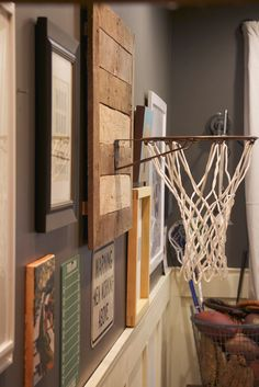 My Sweet Savannah: ~thrifty Thursday~{diy basketball hoop} Basketball Hoop In Bedroom, Basketball Nursery, Indoor Basketball Hoop, Boy Sports Bedroom, Basketball Rim, Basketball Legends, Basketball Decorations, Piece A Vivre, Game Room