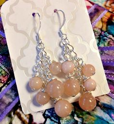 Peach Quartz and Chain Pierced Cluster Dangle Earrings by SparkleCatStudio, $20.00  25% of proceeds donated to animal rescues: The Humane Society of Alamance County OR The Biscuit Foundation.
