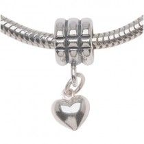Sterling Silver European Style Large Hole Bead, Puff Heart 12mm, 1 Piece, Silver