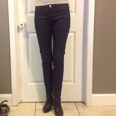 Earnest Sewn dark blue/black coated jeans Cute. Easy to dress up coated jeans. Dark blue almost black. Straight leg hemmed/ altered to fit more like skinny. Hard to photograph. Are really nice quality jeans. Earnest Sewn Jeans Skinny