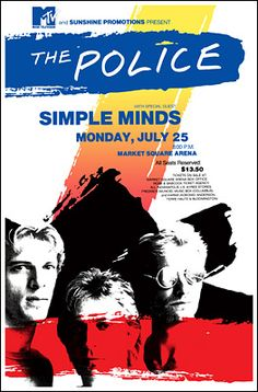 The Police concer posters | Police Concert Poster Simple Minds Concert Posters