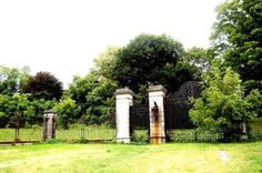 """The gates to Lynnewood Hall, the Neoclassical Revial home designed for Peter Arrell Brown Widener by Horace Trumbauer and built between 1898 and 1900. Learn more in Deborah Fries' """"Ungilded: The Lost Splendor of Lynnewood Hall,"""" in Terrain.org Issue 31: http://terrain.org/ungilded-the-lost-splendor-of-lynnewood-hall/."""