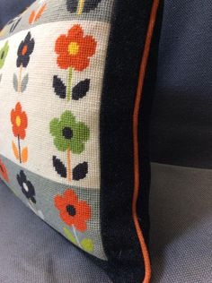 Deborah's Ba-Ba-Bloom, with charcoal border and backing and pumpkin piping. Cross Stitch Cushion, Cross Stitch Rose, Yellow Sofa, Tapestry Crochet, Cushion Covers, Needlepoint, Needlework, Projects To Try, Bloom