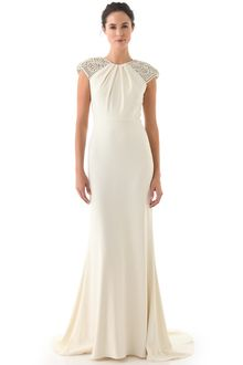 Badgley Mischka Collection Deco Cap Sleeve Gown in White (ivory)