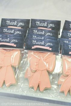 girly chalkboard shower: free printable thank you favor bag toppers + banner || craftiness is not optional