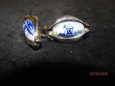 Vintage Swank Silvertone Silver Tone Blue White Windmill Cufflinks Cuff Links by EvenTheKitchenSinkOH on Etsy