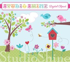Digital Clipart - Home Is Where The Heart Is - Cute Clip art for scrapbooking, party invitations - Instant Download Clipart Commercial Use