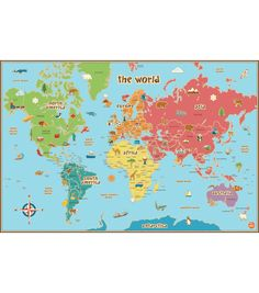 WallPops Kids World Map