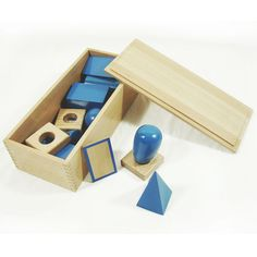 Blue Geometric Solids with Box - Montessori maths sensorial shape 3D   eBay