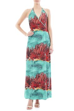 Turquoise wrap dress with a red coral print, tie at the neck, and a tie at the back of the waist.   Coral Wrap Dress by Agua de Coco. Clothing - Dresses - Maxi Clothing - Dresses - Printed Long Island, New York