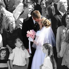 The Wedding day Kiss with selective color and one fascinated boy. Time stopped for a brief moment. Wedding Kiss, Wedding Music, Dream Wedding, Wedding Day, Budget Wedding, Cute Wedding Ideas, Perfect Wedding, Wedding Images, Wedding Pictures