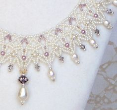 Bridal Lace Bead Weaving Necklace - 501