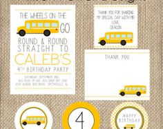 School Bus Wheels On The Bus Birthday by allisonpowelldesigns