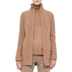 Akris Punto Ribbed Zip-Front Cardigan ($995) ❤ liked on Polyvore featuring tops, cardigans, camel, women's apparel sweaters, akris punto, long sleeve cardigan, ribbed cardigan, camel cardigan and long sleeve tops
