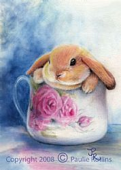 Art: Stuffed Bunny ACEO by Artist Paulie Rollins