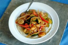Sweet Garlic Chili Shrimp and Rice Noodles (except maybe with chicken so everyone will eat it)