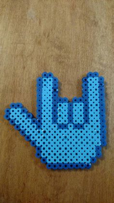 Blue I love you ASL Hand Sign Perler Beads Magnet
