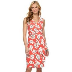 Women's Chaps Floral Surplice Faux-Wrap Dress