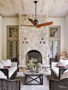 Arched Stone Fireplace