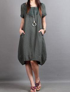 linen Chic short sleeved tunic dress by MaLieb on Etsy by Lieb Ma Boho Fashion, Fashion Outfits, Spring Fashion, Autumn Fashion, Linen Dresses, Pretty Outfits, Beautiful Dresses, Dress Up, Short Sleeve Dresses