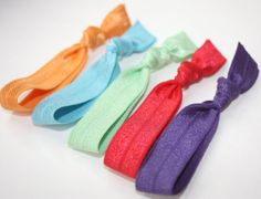 Soft Ponytail Holders - 5 Comfort Hair Ties by PreppyPiecesHairTies, $6.00  #hairties #style #fashion #ponytail #mint #purple #turquoise
