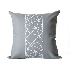 White & Grey Crystal Geometric Pillow Cover by KyleWayneTaylorHome, $45.00
