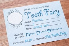 Tooth Fairy Ideas - Tooth Fairy Certificate